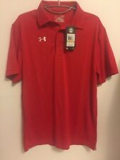 Under Armour Men's Team's Armour Polo Golf Shirt, 1246240 Red Size $40