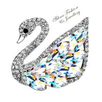 Thick 18K White Gold Filled Made With SWAROVSKI Element Colorful Swan Brooch