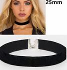 25mm Classic Vintage Retro Gothic Burlesque Plain Black Velvet Choker Necklace
