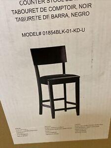 "Linon Torino Wood Contemporary 24"" Counter Stool in Black"