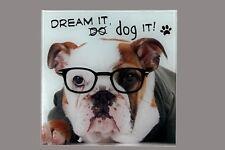 Deko-Glaswandbild 20 x 20 cm,Hund mit Brille Wandbilder Hunde  Wandbild