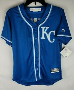 MLB Majestic Cool Base Kansas City Royals Salvador Perez Youth Large Jersey
