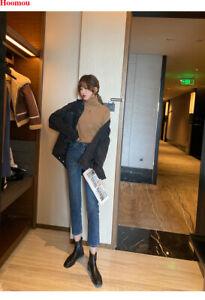 Autumn Winter Korean Women High Neck Slim Knit Top Sweater Basic Blouse Shirts