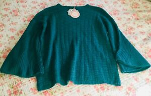 umgee U.S.A. Teal-Green Sweater Small NWT Bell Sleeve L/S ret. $40 FREE SHIPPING