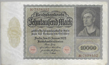 1922 10000 MARK (K) SERIES GERMANY REICHSBANKNOTE