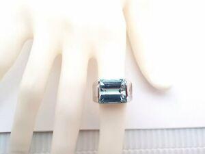 Men's Solitaire Emerald Cut Sky Blue Aquamarine 22.30ct Engagement 925 SS Ring
