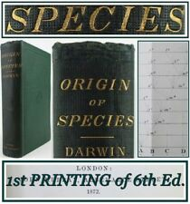 CHARLES DARWIN*THE ORIGIN OF SPECIES*1872*1st PRINTING of 6th EDITION*EVOLUTION*