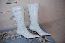 Ladies stunning Bertie ivory leather knee high stiletto kitten heel boots UK 6
