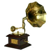 Mini Gramophone Player phonograph Brass Horn HMV Vintage Antique Desk Top Gift