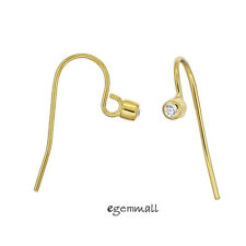 20kt Gold Plated Sterling Silver CZ French Hook Ear Wire Earring Connector 99416