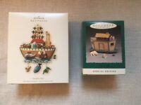 Lot of 2 Hallmark Noah's Ark Keepsake Christmas Ornaments Vintage NIB Orig.$43