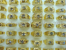 Wholesale Lots 5Pcs Crystal CZ Rhinestone Gold Plated Mens Rings Wedding Gift
