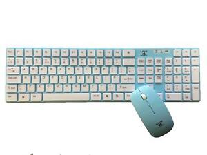 Blue 2.4Ghz Keyboard Wireless Combo Set & Mouse Ultra Slim for Laptop PC Mice