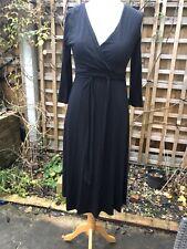 LK BENNETT BLACK V NECK  JERSEY 3/4 SLEEVE DRESS SIZE UK 10 Pre Owned
