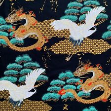 Japanese cranes and dragons fabric, black asian chinese oriental cotton