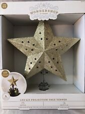 Wondershop Led Lit Projection Star Tree Topper ~ Gold Glitter & Stars ~ New