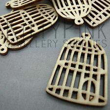 8 Wooden 42mm x 27mm Bird cage Jewellery Charm Pendants