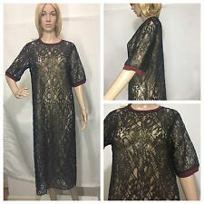 ZARA GOLDEN BLACK SEMI-SHEER LACE LONG TUNIC DRESS DRESS SIZE M
