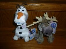 "Disney Frozen Bean Plush OLAF SVEN 8"" Talking Stuffed Snowman Reindeer"