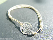 PENTACLE PENTAGRAM BRACELET TIBETAN SILVER & WAX CORD Wicca Witch Pagan Goth