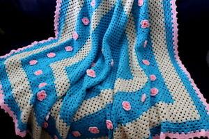 Vtg Pink Aqua & Beige Rose Flower Afghan Coverlet Crocheted Blanket Cover