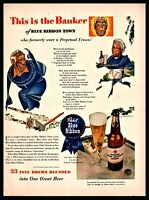 1943 PABST Banker from Blue Ribbon Town Beer Vintage PRINT AD Bar Decor