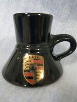 Porsche black travell coffee mug cup gold porsche logo spill skid proof vintage