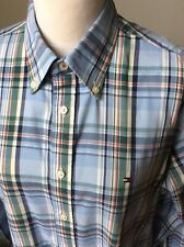 TOMMY HILFIGER Blue Check Button Down Shirt Size Medium Long Sleeve Custom