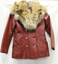 Lindzon Fur Collared Red Leather Jacket Blazer Size 9 Womens Vintage Used Cond