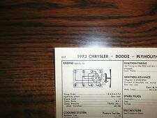 1973 Dodge, Plymouth & Chrysler 280 HP 440 CI V8 SUN Tune Up Chart Great Shape!