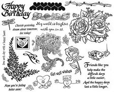 Unmounted Rubber Stamp Sheets, Flower, Friendship Sayings, Hearts, Flowers, Rose