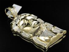 10k Yellow Gold Mens 2.5 Inch Diamond Jesus Face Piece Pendant Charm 1.4 Ct