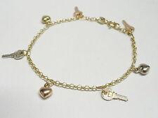 Bracciale in oro giallo bianco rosa 18 Kt 750 chiavi cuori -449/VE-