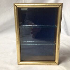 Vintage Small Wall Mounted Collectors Wood & Glass Display Case, Three Shelves