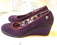 Keds Wedge Sneaker Shoes Pumps UK 4 Purple Suede Satin Wedge