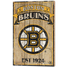 NHL Eishockey BOSTON BRUINS Wood Sign Holzschild Holz Established
