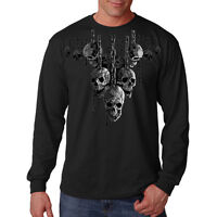 Skulls On Chains Hanging Out Cool Gothic Biker Long Sleeve T-Shirt Tee