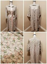 Vintage 40s 50s Lightweight Robe Dressing Gown tent swing shape Silver Floral