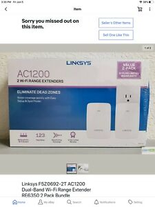 Linksys F5Z0692-2T AC1200 Dual-Band Wi-Fi Range Extender RE6350 2 Pack Bundle
