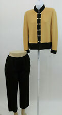 St John by Marie Gray Tan & Brown Pants Suit with Jacket 2PC SZ S 4        (J49)