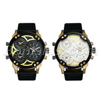 Men's Army Military Sports 3 Time Zones Leather Strap Quartz Analog Wrist Watch