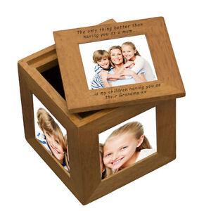 Personalised OAK 5 PHOTO KEEPSAKE BOX Cube Mum, Mother Memories Gift