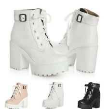 Women Ankle Boots Ankle Buckle Lace Up Platform Block Heel Combat Casual Shoes B