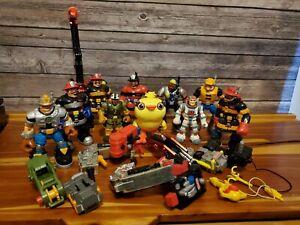 Rescue Heroes Figures Lot Firemen, Construction Worker, Evil Chicken, Backpacks