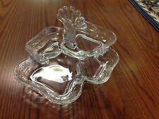 Vintage Cambridge Glass Fan Handled Divided Tidbit Candy Dish
