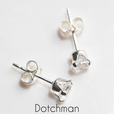 925 Sterling Silver Stud Earrings 4mm Round With Clear Cubic Zirconia