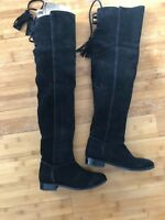 genuine suede leather vtg ASOS flat pirate thigh high over the knee boots 38 7.5