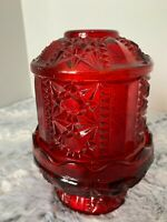 VINTAGE INDIANA GLASS RUBY RED FAIRY LAMP STARS AND BARS CANDLE HOLDER DIAMOND