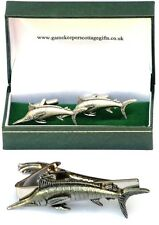 Marlin Fish Cufflinks & Tie Clip Bar Slide Mens Gift Set Sea Fishing Present