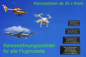 EU Plakette, e-ID Kennzeichnung, Kennzeichen, Drohne, Flugmodelle, Adressschild